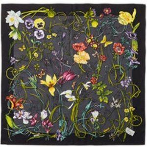 Gucci Chrissy Silk Foulard Floral Print Scarf